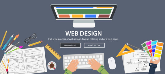 Flat style web design and development concepts
