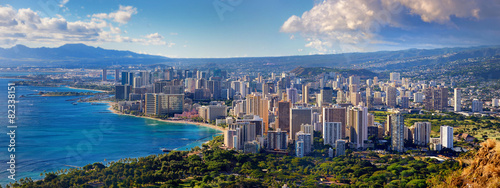 Spoed canvasdoek 2cm dik Luchtfoto Spectacular view of Honolulu city, Oahu