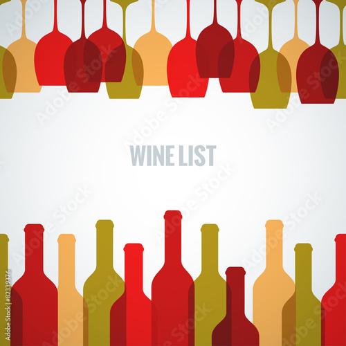 wine glass bottle art background - 82339376