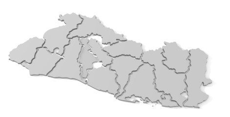 El Salvador map with separate states 3d illustration over white