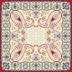 Floral paisley scarf design