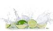 Leinwandbild Motiv Limes with water splash
