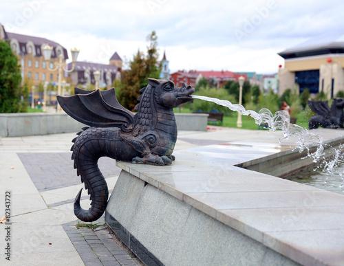 Leinwanddruck Bild Fountain in the form of figure of Zilant in Kazan