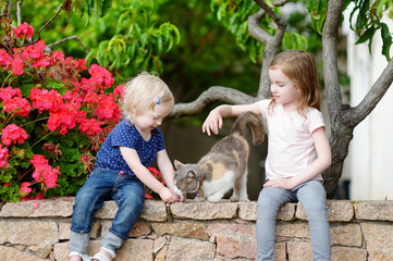 Two cute little sisters and a cat