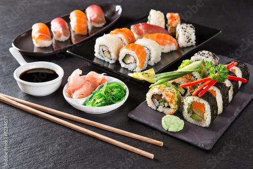 Japanese seafood sushi set Poster