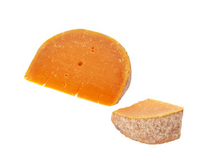 Handmade farm cheese and slice isolated