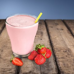 Milk. Smoothie made with strawberries