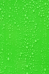 Close up water drop on green background.