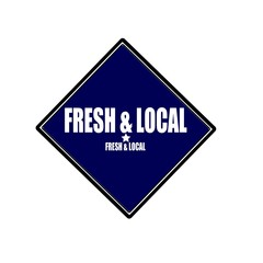Fresh and Local white stamp text on blue black background