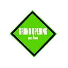 Grand opening white stamp text on green background