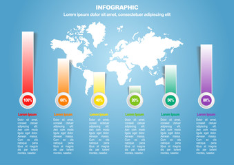 Business infographic 3 of 6 with world map