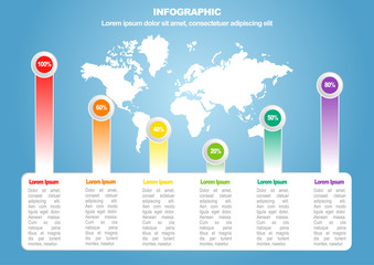 Business infographic 2 of 6 with world map