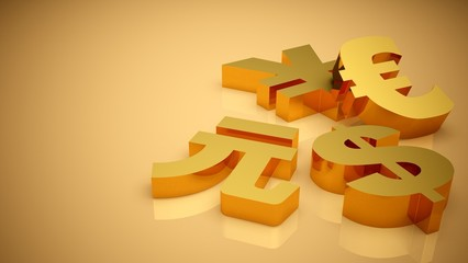 Currency. 3D. Currency Symbols
