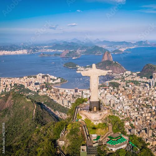 fototapeta na ścianę Aerial view of Christ and Botafogo Bay, Rio de Janeiro