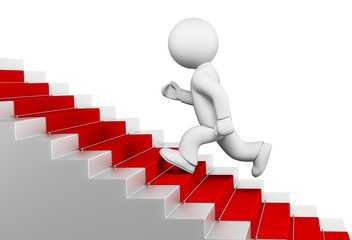 Steps. 3D. Businessman run up