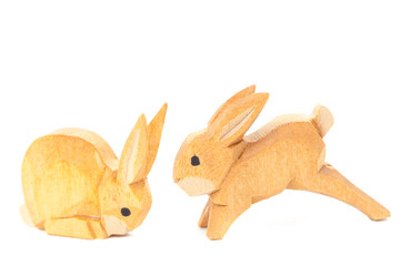 Handmade carved easter wooden bunnies