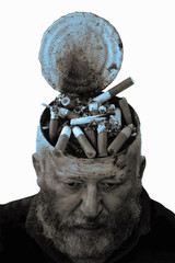 Collage of the man and cigarette in an ashtray