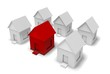 Residential District. 3D. Hundreds of Houses, One Red