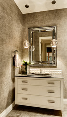 Half-Bathroom Vanity with Mirror in Luxury Home