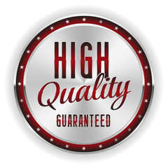 Silver red high quality badge on white background