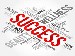 SUCCESS word cloud, fitness, sport, health concept