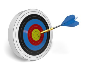 Bull's-Eye. 3D. Dart on Target
