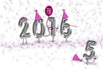 New Year 2016 party with hats, confetti and balloon on white