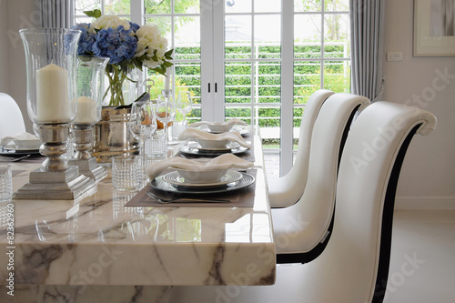 dining table and comfortable chairs in vintage style with elegan - 82362960