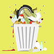 Garbage can full of trash - 82363124