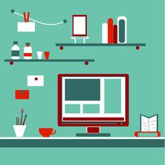 Home workplace flat vector design. Workspace for freelancer or