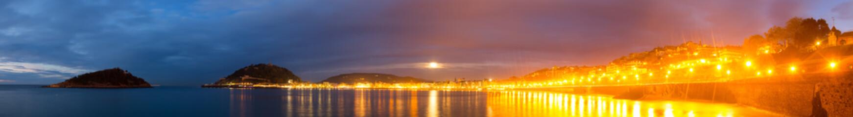 Panorama of Bay of La Concha  at San Sebastian