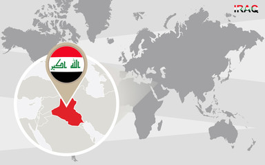 World map with magnified Iraq