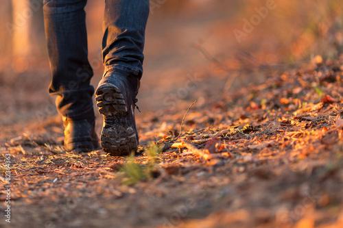 Leinwandbild Motiv Closeup of woman legs hiking in nature at sunset.