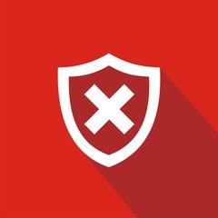 Icono escudo error rojo sombra