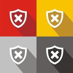 Iconos escudo error colores sombra