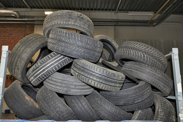 Pile of old black tires