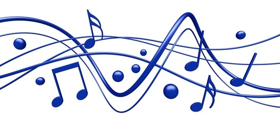 Music. 3D. 3D rendered musical note background