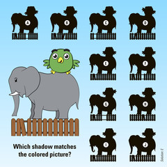 Kids cartoon puzzle - match the shadow