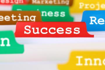 Success or successful office text on register in business servic