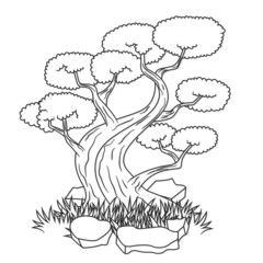 Beautiful bonsai tree isolated tattoo