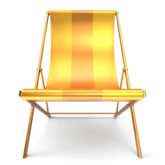 Beach chair nobody yellow chaise longue relaxation holidays