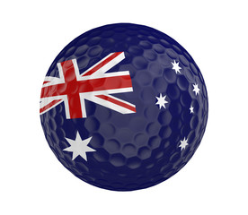 Golf ball 3D render with flag of Australia, isolated on white