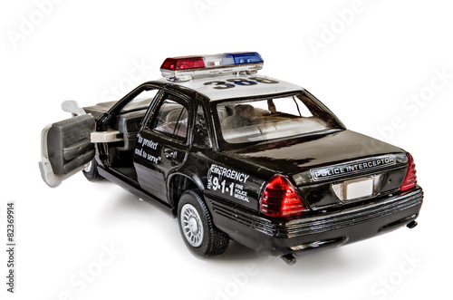 The toy field officer the car on a white background. - 82369914