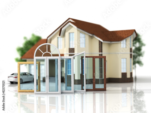 House with a choice of windows. Set of windows. - 82370521