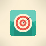 Round target board with arrow icon. Success and accuracy concept poster