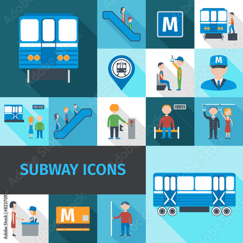Subway Icons Flat - 82370938