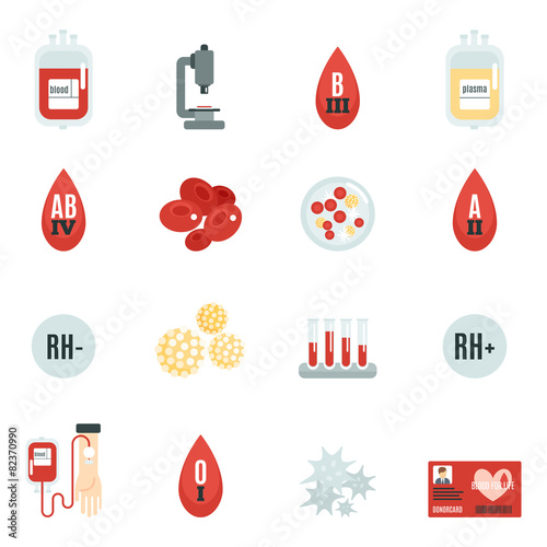 Blood Donor Icons Flat - 82370990
