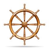 Fototapety Antique wooden ship wheel