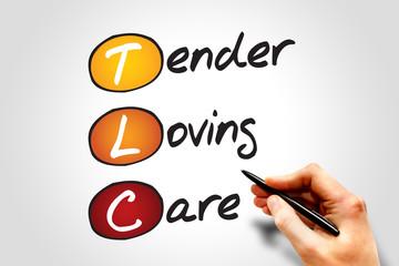 Tender Loving Care (TLC), business concept acronym