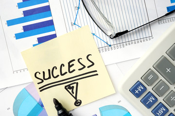 Papers with graphs and  Business success concept.